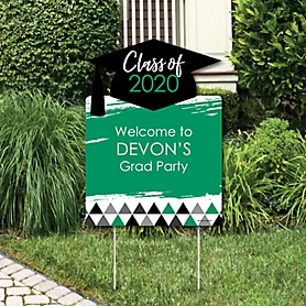 Green Grad - Best is Yet to Come - Party Decorations - 2020 Graduation Party Personalized Welcome Yard Sign
