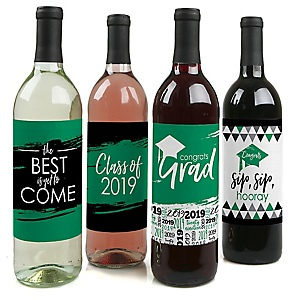 Green Grad - Best is Yet to Come - 2019 Graduation Decorations for Women and Men - Wine Bottle Label Stickers - Set of 4