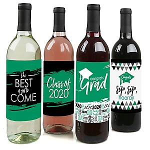 Green Grad - Best is Yet to Come - 2020 Graduation Decorations for Women and Men - Wine Bottle Label Stickers - Set of 4
