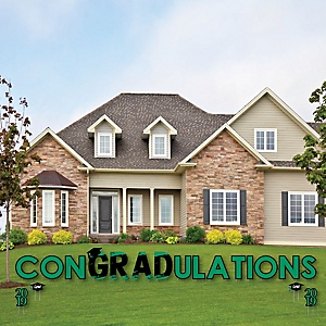 conGRADulations - Green Grad - Best is Yet to Come - Yard Sign Outdoor Lawn Decorations - Green 2019 Graduation Party Yard Signs