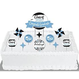 Light Blue Grad - Best is Yet to Come - 2020 Light Blue Graduation Party Cake Decorating Kit - Congrats Graduate Cake Topper Set - 11 Pieces