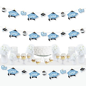 Light Blue Grad - Best is Yet to Come - 2020 Light Blue Graduation Party DIY Decorations - Clothespin Garland Banner - 44 Pieces