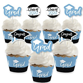 Light Blue Grad - Best is Yet to Come - Cupcake Decoration - 2020 Light Blue Graduation Party Cupcake Wrappers and Treat Picks Kit - Set of 24