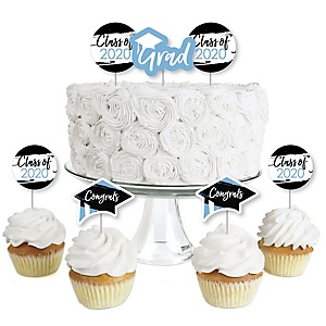 Light Blue Grad - Best is Yet to Come - Dessert Cupcake Toppers - Light Blue 2020 Graduation Party Clear Treat Picks - Set of 24