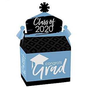 Light Blue Grad - Best is Yet to Come - Treat Box Party Favors - 2020 Light Blue Graduation Party Goodie Gable Boxes - Set of 12