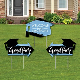 Light Blue Grad - Best is Yet to Come - 2 Light Blue Graduation Party Arrows and 1 Welcome / Thank You Lawn Sign - Double Sided Grad Yard Sign Set - 3 Pieces