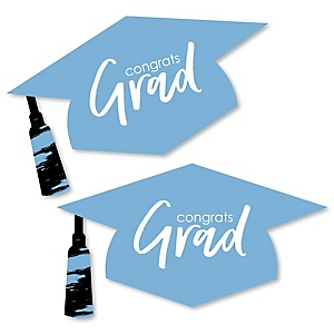 Light Blue Grad - Best is Yet to Come - Graduation Hat Decorations DIY Large Light Blue Graduation Party Essentials - 20 Count