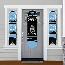 Light Blue Grad - Best is Yet to Come - Hanging Porch Front Door Signs - 2020 Light Blue Graduation Party Banner Decoration Kit - Outdoor Door Decor