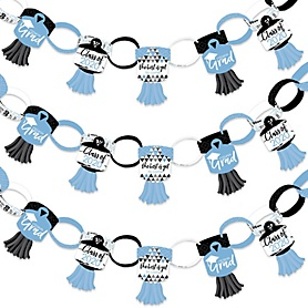 Light Blue Grad - Best is Yet to Come - 90 Chain Links and 30 Paper Tassels Decoration Kit - 2020 Light Blue Graduation Party Paper Chains Garland - 21 feet