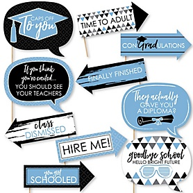 Funny Light Blue Grad - Best is Yet to Come - 10 Piece Graduation Party Photo Booth Props Kit