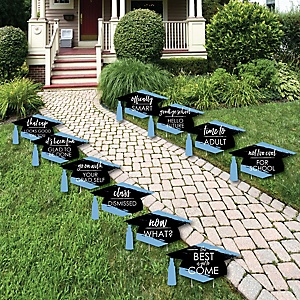Light Blue Grad - Best is Yet to Come - Grad Cap Lawn Decorations - Outdoor Light Blue Graduation Party Yard Decorations - 10 Piece