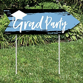 Light Blue Grad - Best is Yet to Come - Graduation Party Sign Arrow - Double Sided Directional Yard Signs - Set of 2