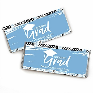 Light Blue Grad - Best is Yet to Come - Personalized Candy Bar Wrappers Graduation Party Favors - Set of 24