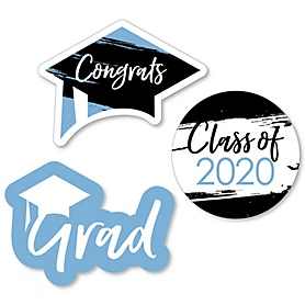 Light Blue Grad - Best is Yet to Come - DIY Shaped 2020 Graduation Party Paper Cut-Outs - 24 ct
