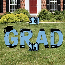 GRAD - Light Blue Grad - Best is Yet to Come - Yard Sign Outdoor Lawn Decorations - Light Blue 2020 Graduation Party Yard Signs