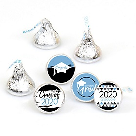 Light Blue Grad - Best is Yet to Come - Round Candy Labels 2020 Graduation Party Favors - Fits Hershey's Kisses 108 ct