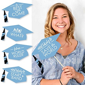 Hilarious Light Blue Grad - Best is Yet to Come - 20 Piece Light Blue Graduation Party Photo Booth Props Kit