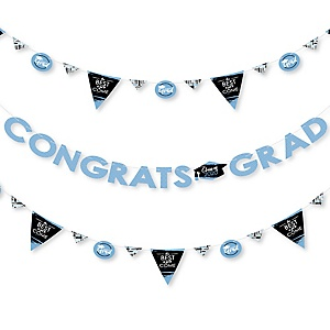 Light Blue Grad - Best is Yet to Come - 2020 Light Blue Graduation Party Letter Banner Decoration - 36 Banner Cutouts and Congrats Grad Banner Letters