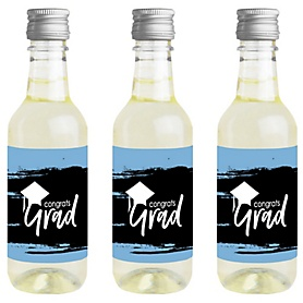 Light Blue Grad - Best is Yet to Come - Mini Wine and Champagne Bottle Label Stickers - Light Blue Graduation Party Favor Gift - For Women and Men - Set of 16