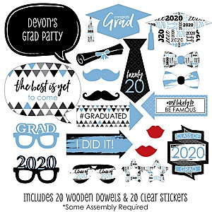 Light Blue Grad - Best is Yet to Come - 20 Piece 2020 Graduation Party Photo Booth Props Kit