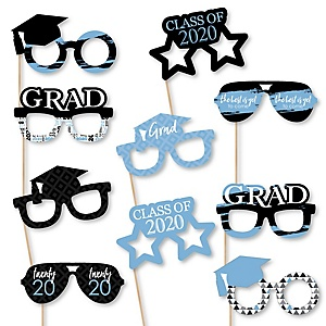 Light Blue Grad Glasses - Best is Yet to Come - Light Blue 2020 Paper Card Stock Graduation Party Photo Booth Props Kit - 10 Count