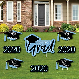 Light Blue Grad - Best is Yet to Come - Yard Sign & Outdoor Lawn Decorations – 2020 Graduation Party Yard Signs - Set of 8