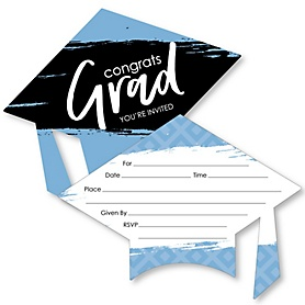 Light Blue Grad - Best is Yet to Come - Shaped Fill-In Invitations - Graduation Party Invitation Cards with Envelopes - Set of 12