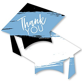 Light Blue Grad - Best is Yet to Come - Shaped Thank You Cards - Light Blue Graduation Party Thank You Note Cards with Envelopes - Set of 12