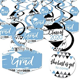 Light Blue Grad - Best is Yet to Come - 2020 Light Blue Graduation Party Hanging Decor - Party Decoration Swirls - Set of 40