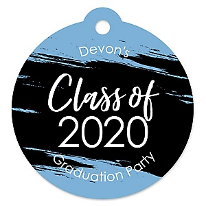 Light Blue Grad - Best is Yet to Come - Round Personalized 2020 Graduation Party Die-Cut Tags - 20 ct