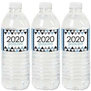Light Blue Grad - Best is Yet to Come - 2020 Light Blue Graduation Party Water Bottle Sticker Labels - Set of 20