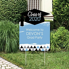 Light Blue Grad - Best is Yet to Come - Party Decorations - 2020 Graduation Party Personalized Welcome Yard Sign