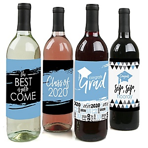Light Blue Grad - Best is Yet to Come - 2020 Graduation Decorations for Women and Men - Wine Bottle Label Stickers - Set of 4