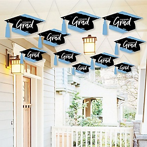 Hanging Light Blue Grad - Best is Yet to Come - Outdoor Graduation Party Hanging Porch & Tree Yard Decorations - 10 Pieces