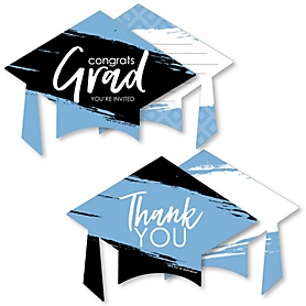 Light Blue Grad - Best is Yet to Come - 20 Shaped Fill-In Invitations and 20 Shaped Thank You Cards Kit - Light Blue Graduation Party Stationery Kit - 40 Pack