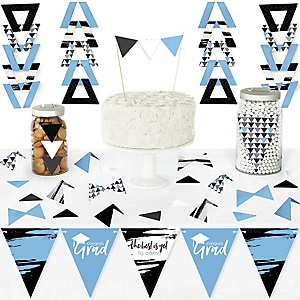Light Blue Grad - Best is Yet to Come - DIY Pennant Banner Decorations - Light Blue Graduation Party Triangle Kit - 99 Pieces