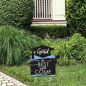 Light Blue Grad - Best is Yet to Come - Outdoor Lawn Sign - Light Blue Graduation Party Yard Sign - 1 Piece