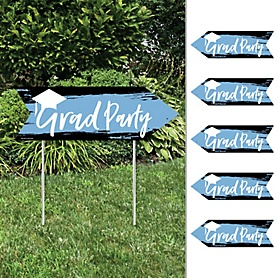 Light Blue Grad - Best is Yet to Come - Arrow Graduation Party Direction Signs - Double Sided Outdoor Yard Signs - Set of 6