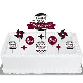 Maroon Grad - Best is Yet to Come - 2020 Burgundy Graduation Party Cake Decorating Kit - Congrats Graduate Cake Topper Set - 11 Pieces