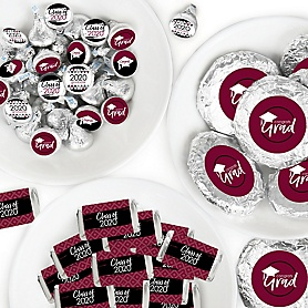 Maroon Grad - Best is Yet to Come - Mini Candy Bar Wrappers, Round Candy Stickers and Circle Stickers - 2020 Burgundy Graduation Party Candy Favor Sticker Kit - 304 Pieces