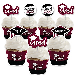 Maroon Grad - Best is Yet to Come - Cupcake Decoration - 2020 Burgundy Graduation Party Cupcake Wrappers and Treat Picks Kit - Set of 24