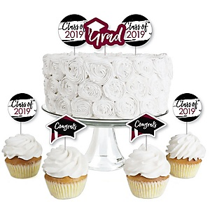 Maroon Grad - Best is Yet to Come - Dessert Cupcake Toppers - Burgundy 2019 Graduation Party Clear Treat Picks - Set of 24