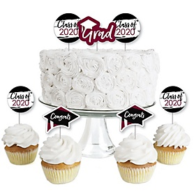 Maroon Grad - Best is Yet to Come - Dessert Cupcake Toppers - Burgundy 2020 Graduation Party Clear Treat Picks - Set of 24