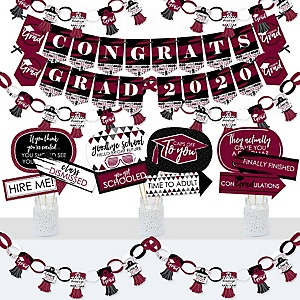 Maroon Grad - Best is Yet to Come - Banner and Photo Booth Decorations - 2020 Burgundy Graduation Party Supplies Kit - Doterrific Bundle