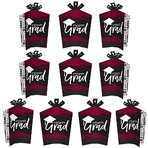Maroon Grad - Best is Yet to Come - Table Decorations - 2020 Burgundy Graduation Party Fold and Flare Centerpieces - 10 Count