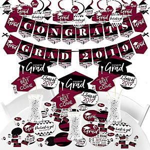 Maroon Grad - Best is Yet to Come - 2019 Burgundy Graduation Party Supplies - Banner Decoration Kit - Fundle Bundle