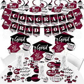 Maroon Grad - Best is Yet to Come - 2020 Burgundy Graduation Party Supplies - Banner Decoration Kit - Fundle Bundle