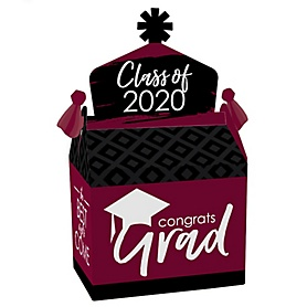 Maroon Grad - Best is Yet to Come - Treat Box Party Favors - 2020 Burgundy Graduation Party Goodie Gable Boxes - Set of 12