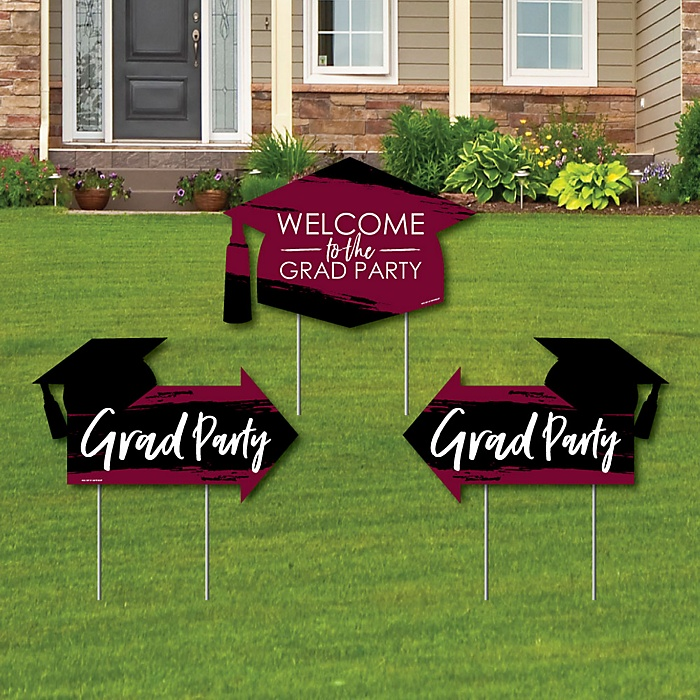 Maroon Grad - Best is Yet to Come - 2 Maroon Graduation Party Arrows and 1 Welcome / Thank You Lawn Sign - Double Sided Grad Yard Sign Set - 3 Pieces