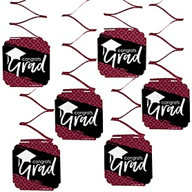 Maroon Grad - Best is Yet to Come - Graduation Party Hanging Decorations - 6 ct